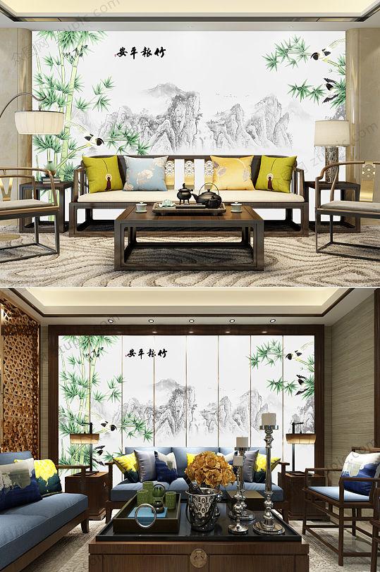 竹报平安客厅背景墙-众图网