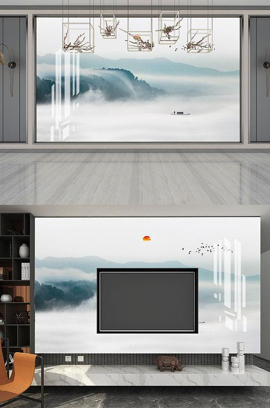 中式山水电视背景墙-众图网
