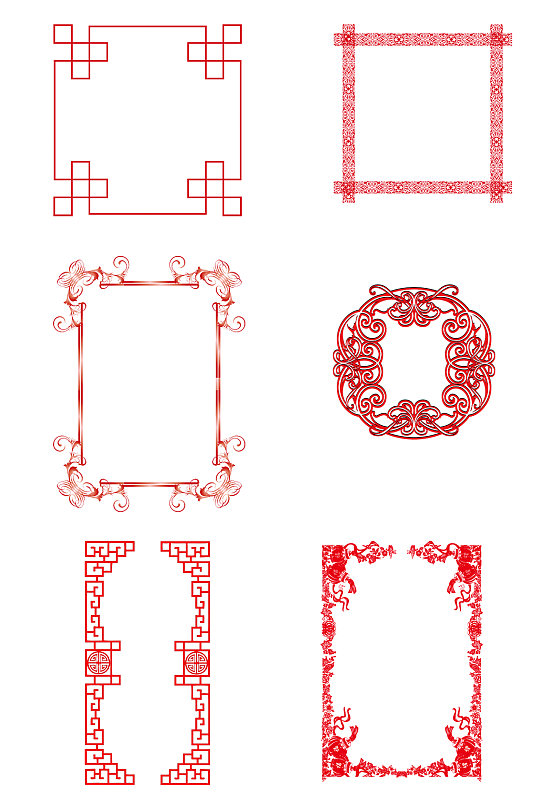 红色花纹相框素材-众图网