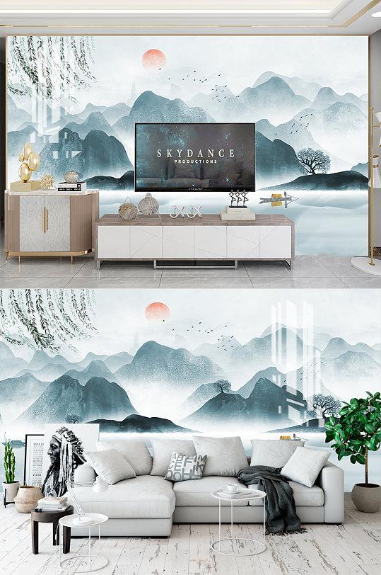 新中式山水电视背景墙-众图网