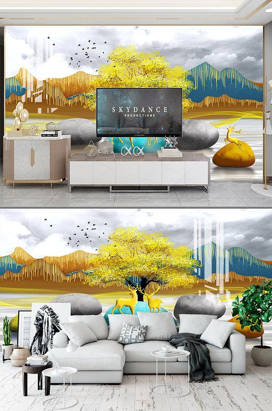 抽象山水电视背景墙-众图网