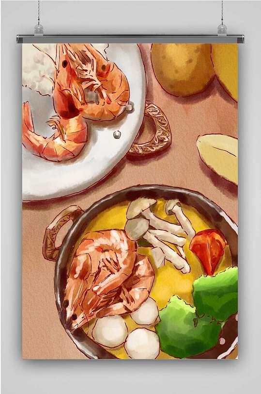 海鲜蔬菜汤手绘美食-众图网