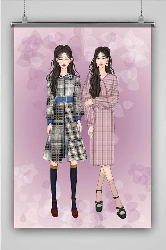 甜美时尚双人女孩插画-众图网
