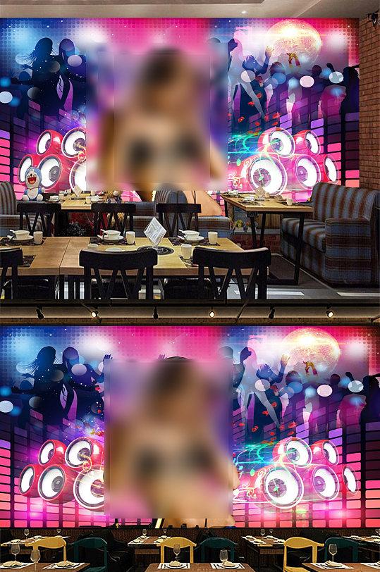 性感美女KTV背景墙酒吧艺术墙画-众图网