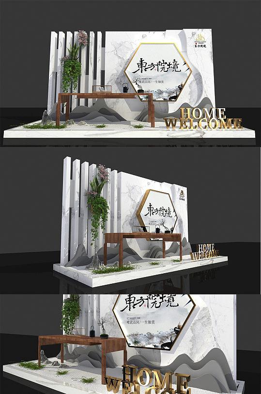 2021年 新中式中庭欢迎回家主题商业房地产 售楼处交房美陈设计图-众图网