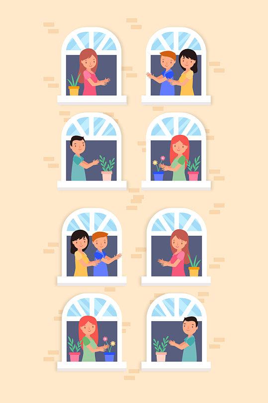矢量女孩窗口人头矢量卡通-众图网
