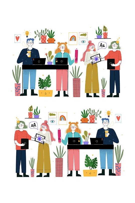 矢量卡通休闲人物元素-众图网