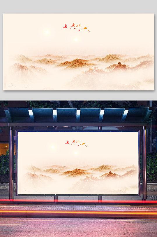 中国风抽象山水党建背景