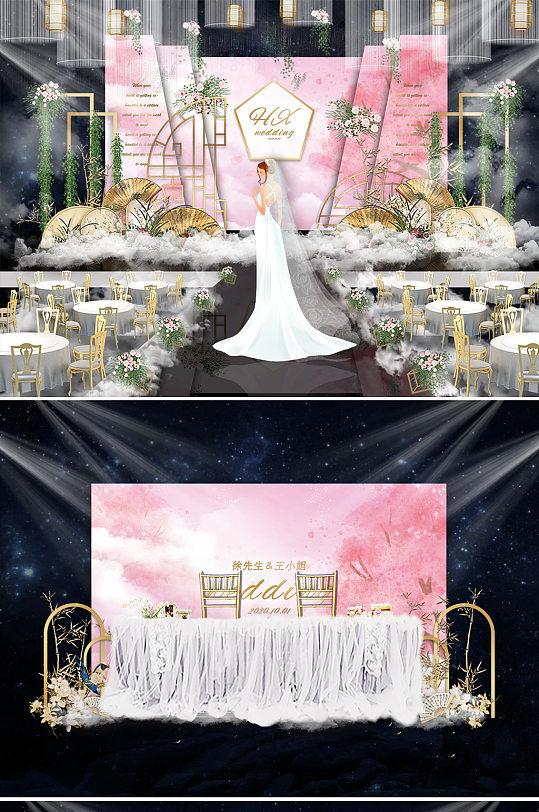粉色樱花唯美婚礼舞台背景板-众图网