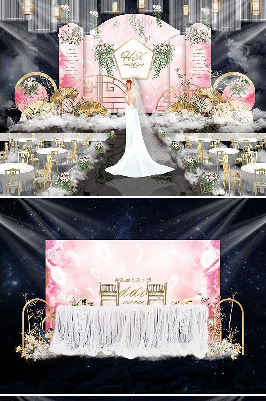 粉色唯美婚礼舞台背景板-众图网