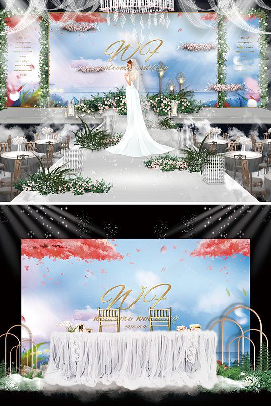 唯美浅蓝小清新婚礼舞台背景板-众图网
