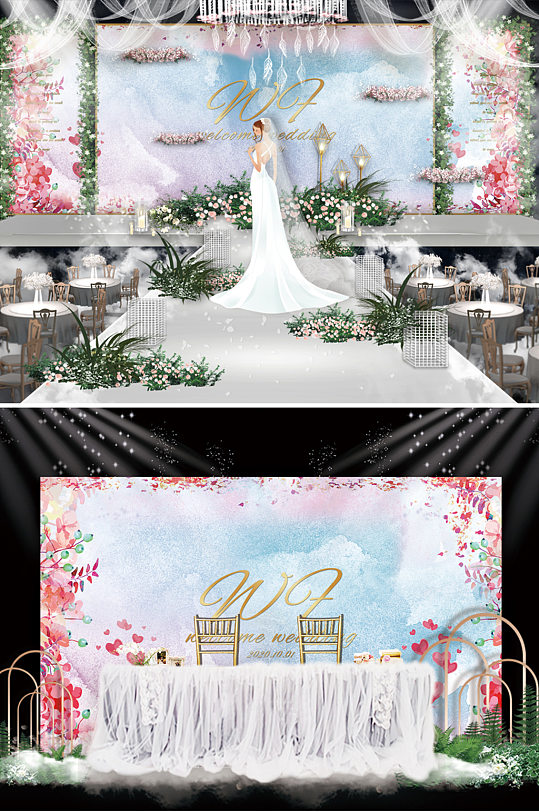 鲜花背景婚礼舞台背景板-众图网