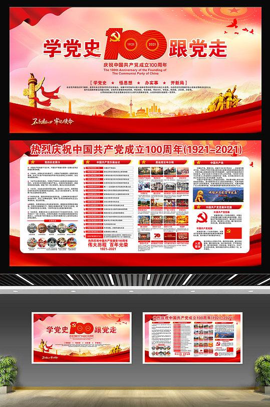 七一建党100周年党的光辉历程宣传栏展板海报-众图网