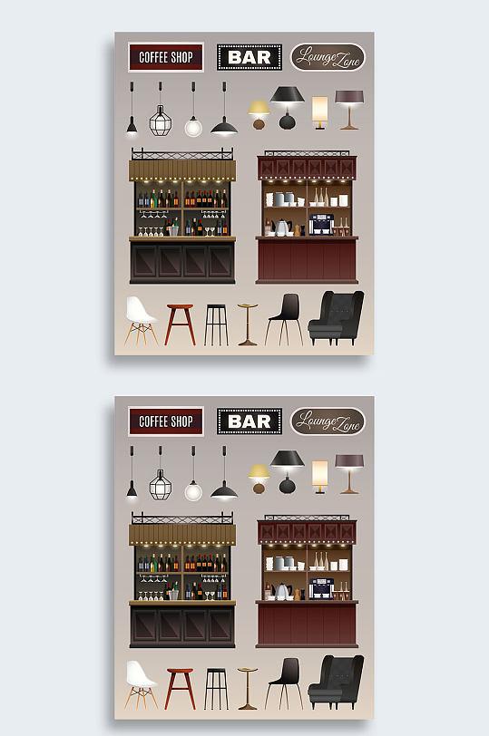 创意简洁矢量酒吧插画-众图网