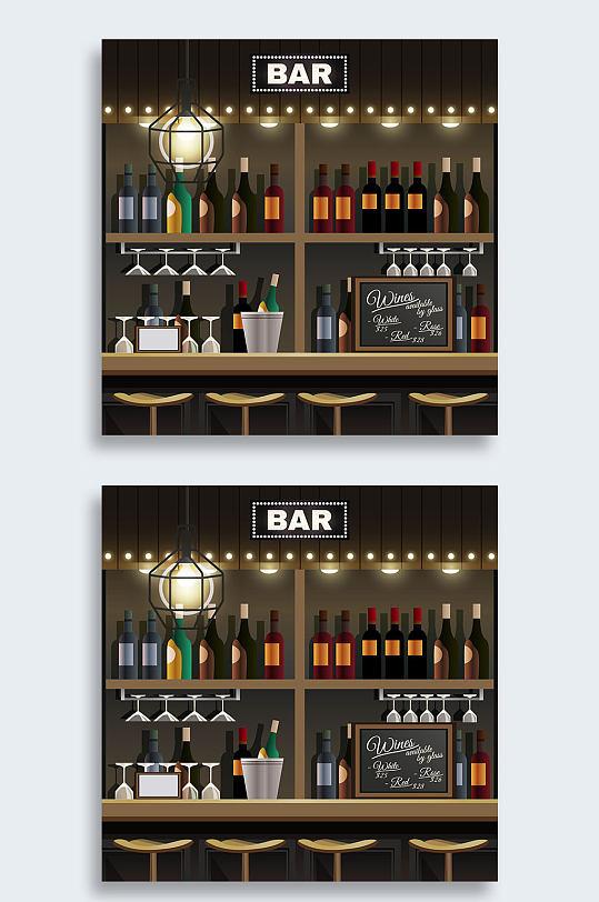 矢量大气酒吧插画设计-众图网