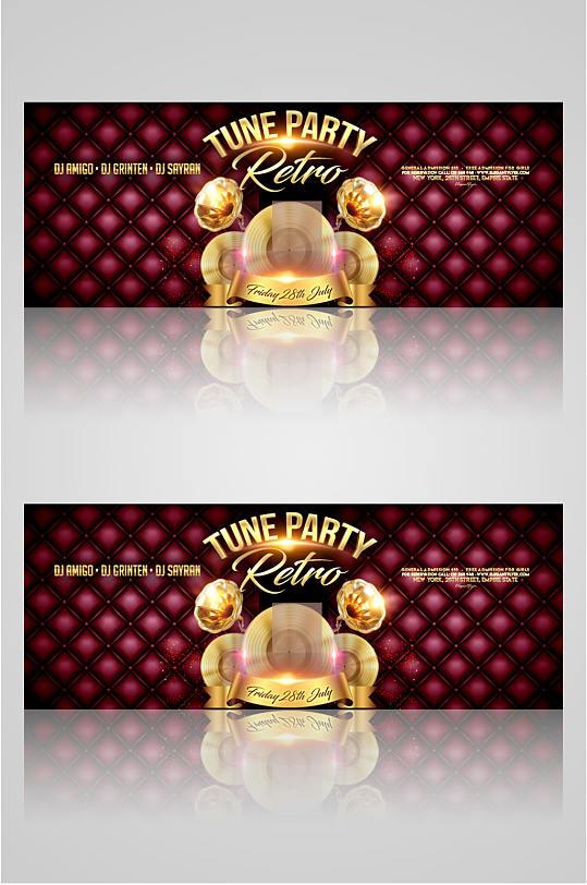 红色酒吧海报banner-众图网