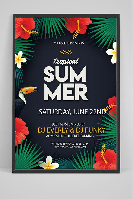 精美热带夏季派对海报矢量图-众图网