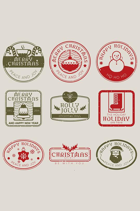 9款复古圣诞节印章矢量素材 圣诞节元素