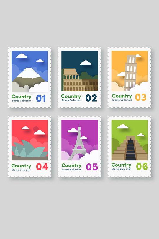 6款彩色纸质旅游城市邮票矢量图-众图网