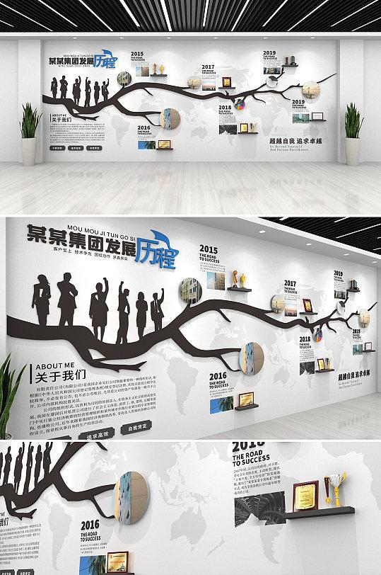 时尚黑色大气企业发展历程文化墙-众图网