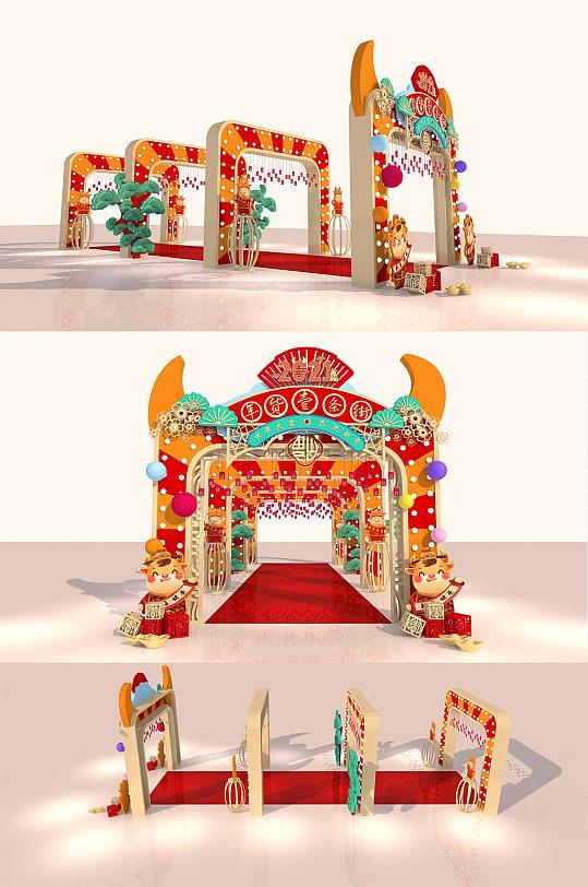 2021年新年春节春季美陈户外通道年货街年货节活动美陈拱门-众图网
