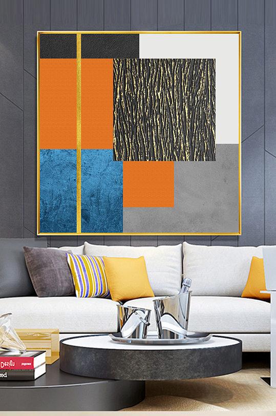 现代轻奢抽象橙色装饰画-众图网