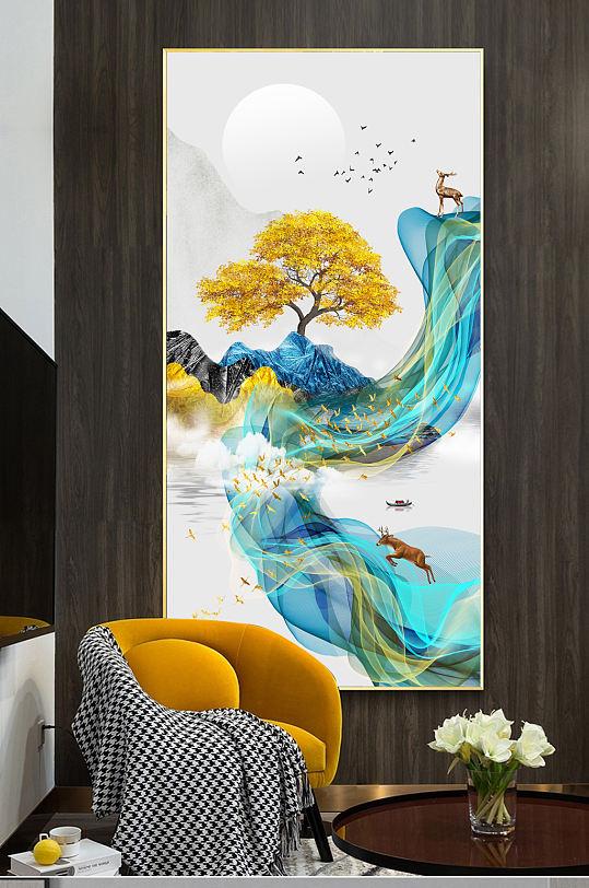 新中式水墨山水线条装饰画-众图网