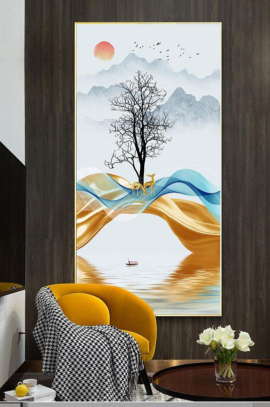 新中式山水线条麋鹿玄关-众图网