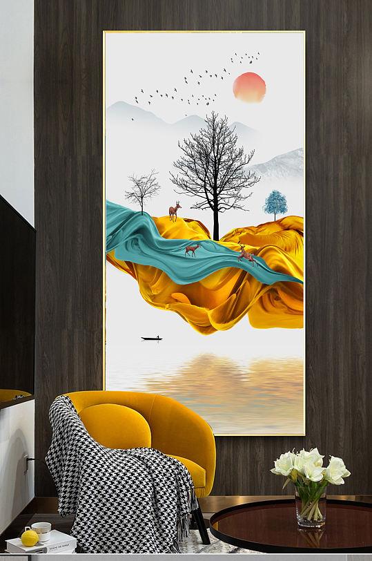 抽象金色麋鹿新中式装饰画-众图网