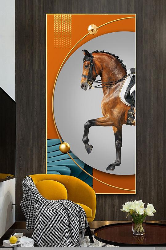 现代手绘轻奢骏马光影空间玄关客厅装饰画-众图网