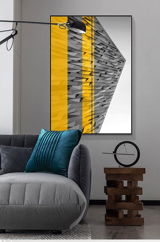 橙色抽象现代建筑装饰画-众图网