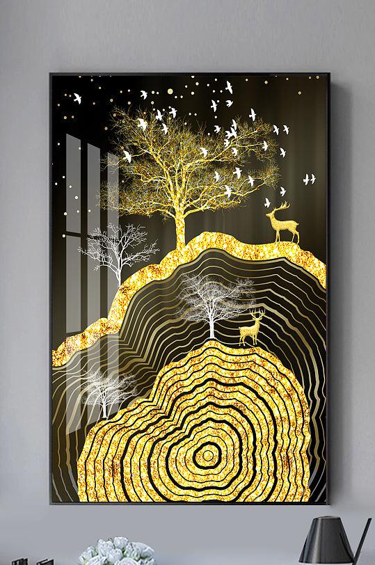 新中式金色麋鹿年轮装饰画-众图网