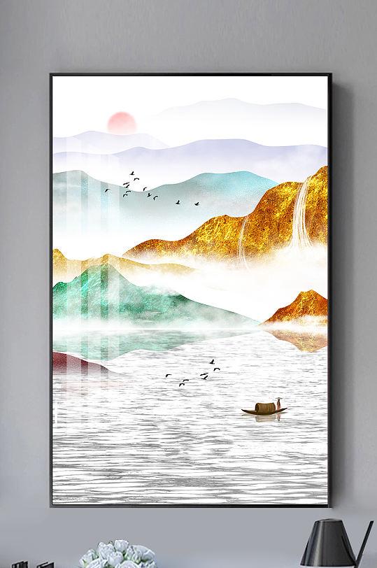新中式水墨山水抽象装饰画-众图网