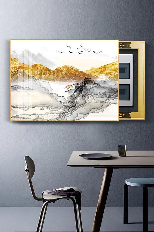 新中式金色山水线条电表画-众图网