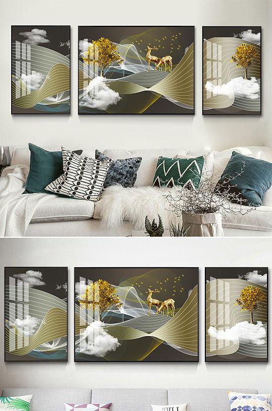 新中式抽象线条麋鹿装饰画-众图网
