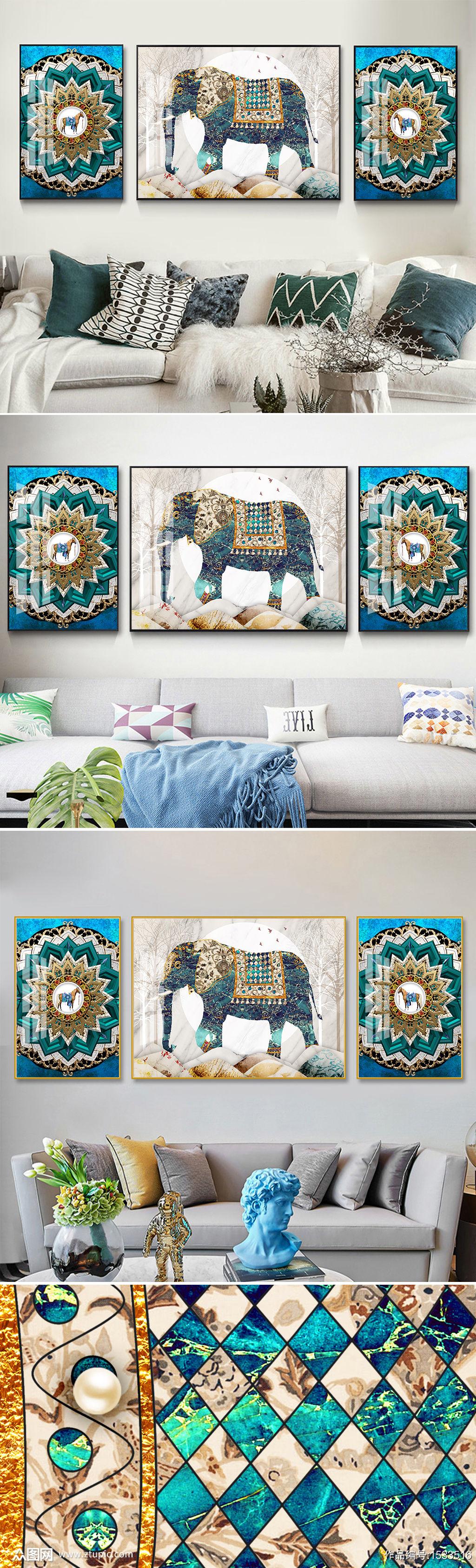 现代轻奢珐琅彩大象古典骏马几何装饰画素材
