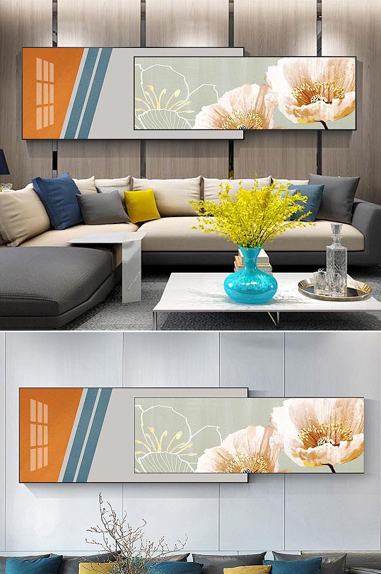 现代轻奢爱马仕橙抽象线条花朵组合装饰画-众图网