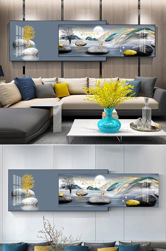 新中式轻奢金色麋鹿羽毛石来运转组合装饰画-众图网
