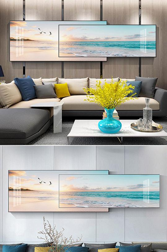 现代唯美夕阳海鸥海洋风景组合装饰画-众图网