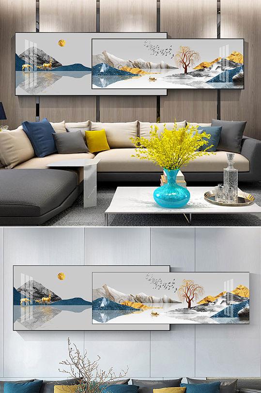 新中式金色麋鹿抽象山水组合装饰画-众图网