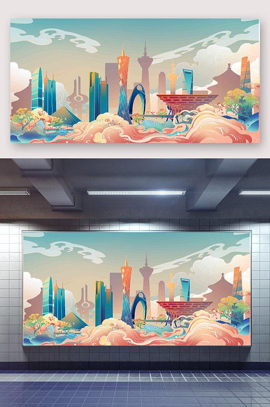 国潮风背景插画设计-众图网