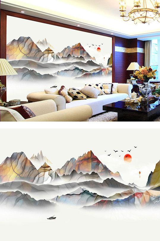 意境山水电视背景墙-众图网