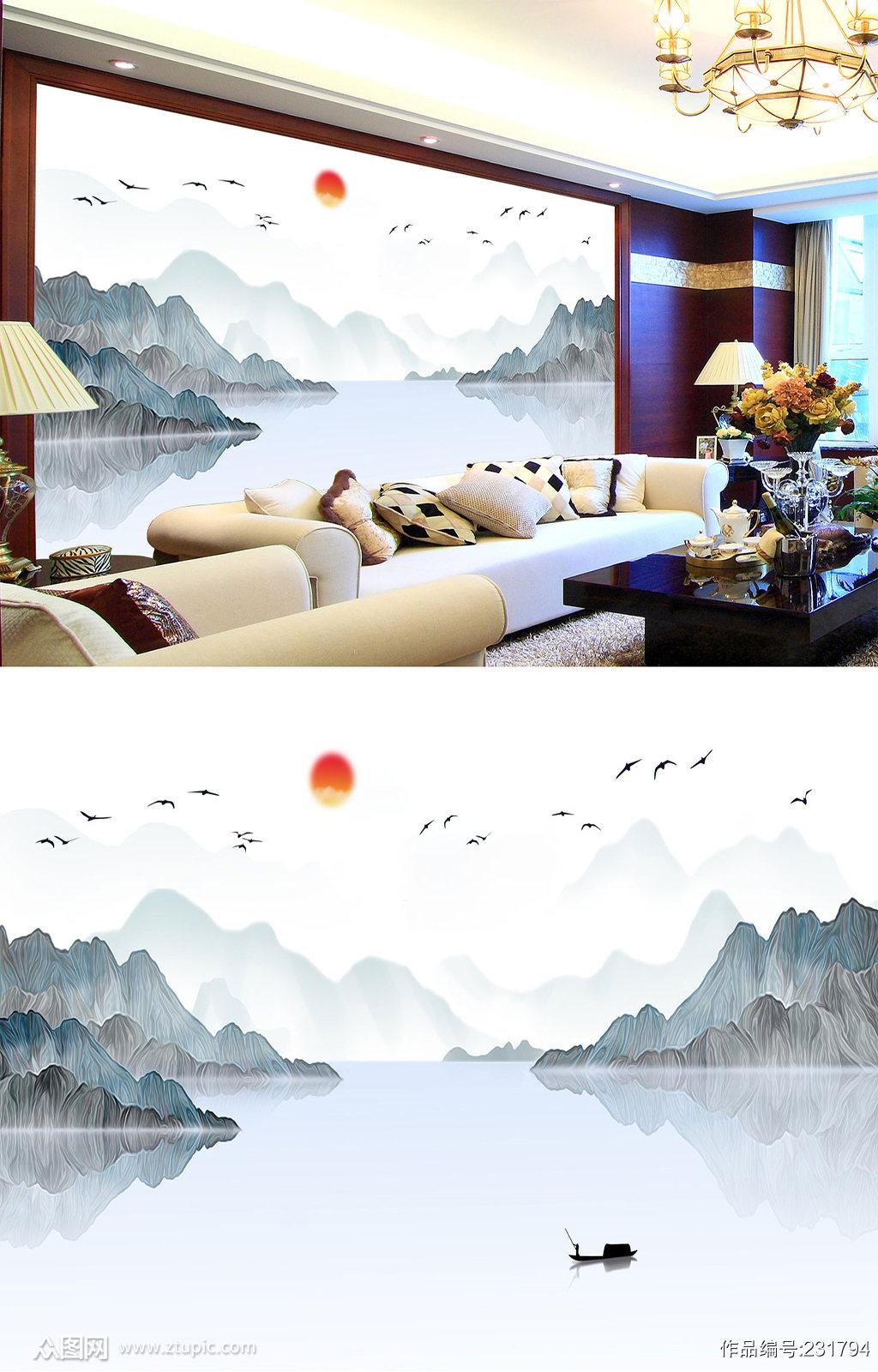 飞鸟水墨山水画背景墙素材