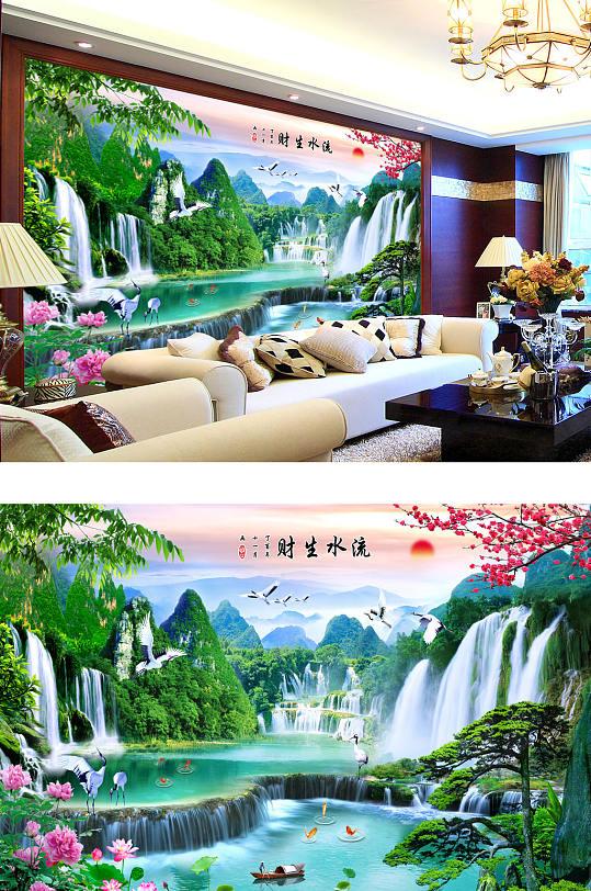 流水生财山水画梅花客厅背景墙