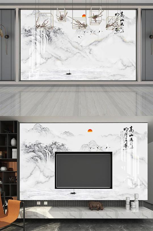 高山流水电视背景墙-众图网