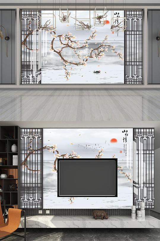 手绘花鸟山水情背景墙-众图网