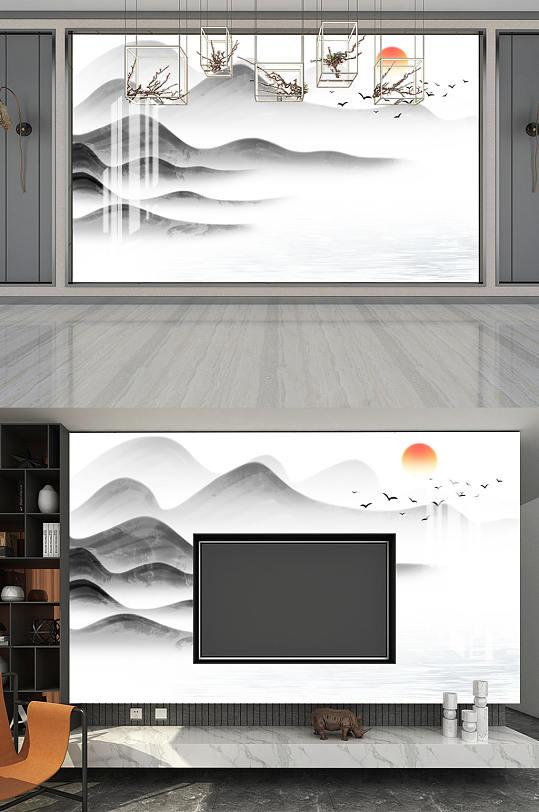 水墨画家装电视背景墙-众图网