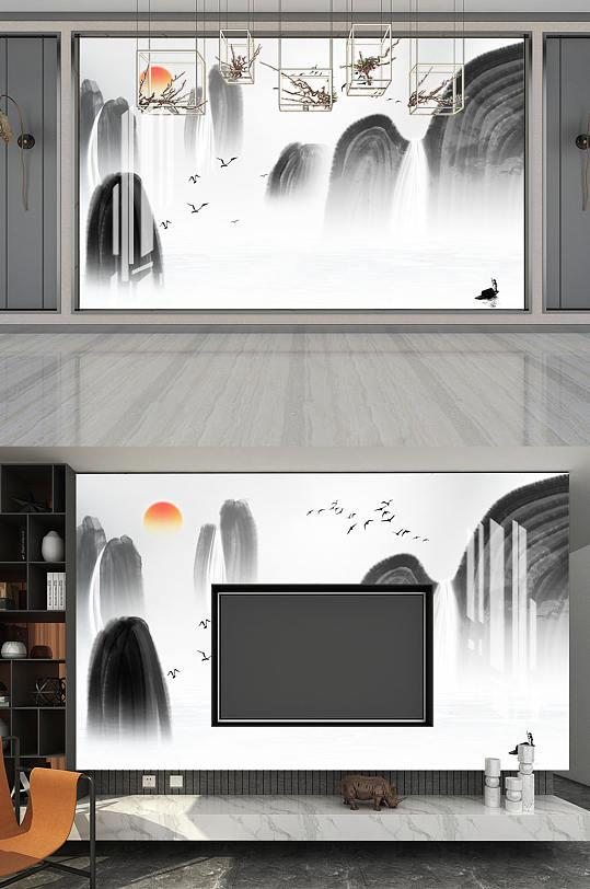 高山山水风景太阳背景墙-众图网