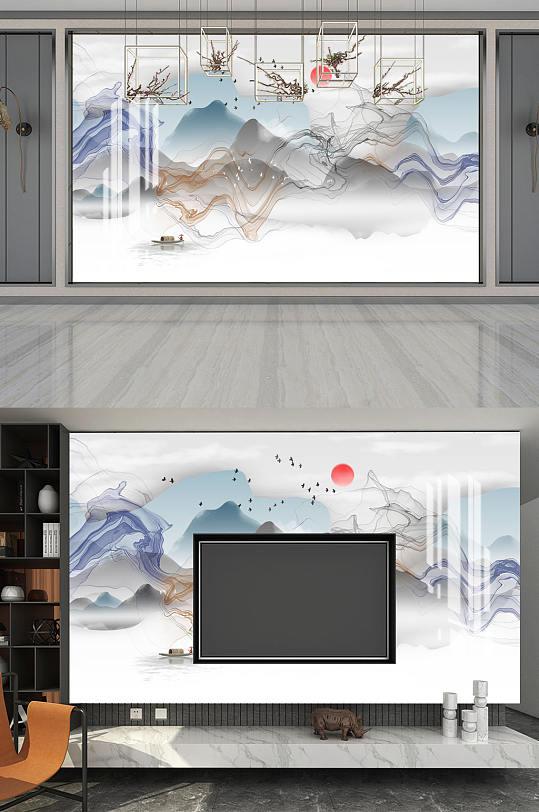 水墨画山水风景电视背景墙-众图网
