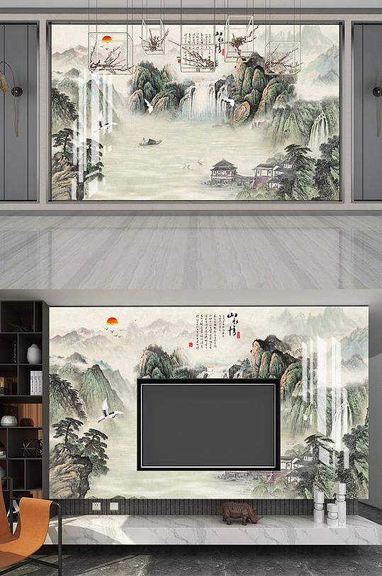 山水画山水情亭鹤背景墙-众图网